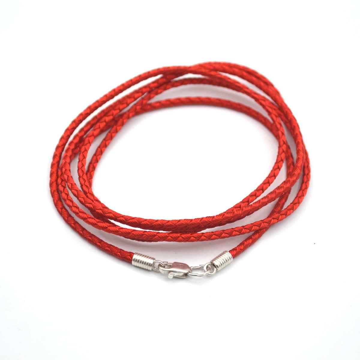 Шнурок шелковый с серебряными окончаниями